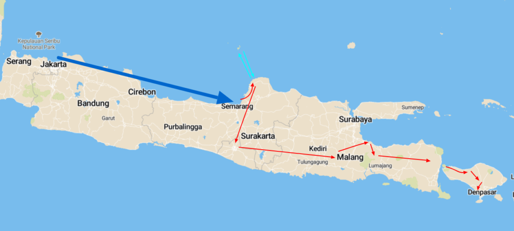 kaart reis indonesië
