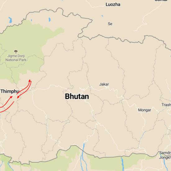 bhoetan reis kaart
