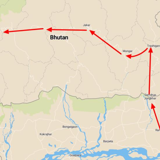 india bhutan reis kaart