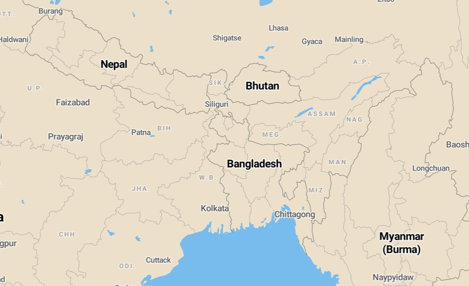 Bhutan kaart reis