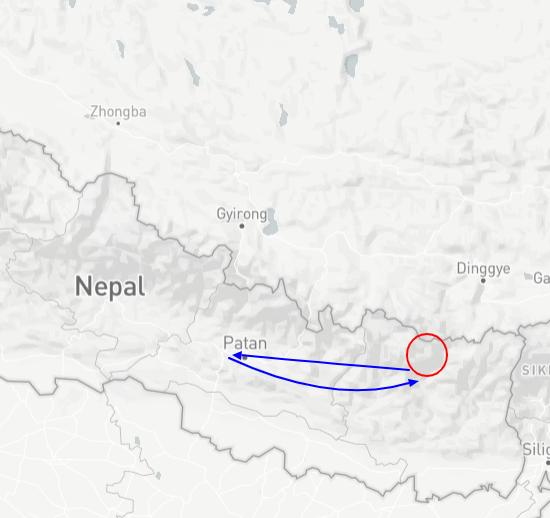 kaart nepal trekking