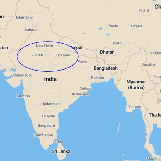 kaart noord india reis