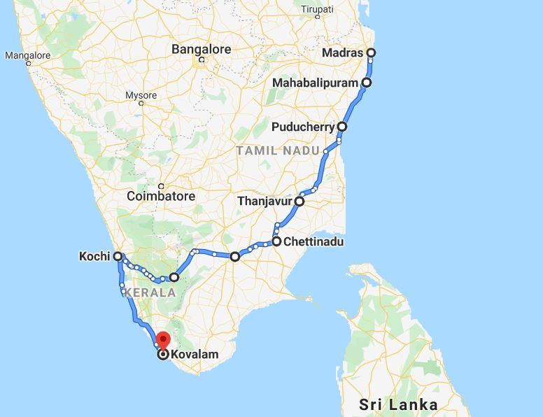 kaart zuid india