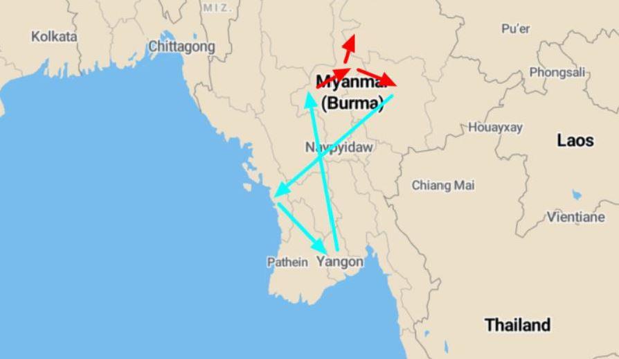 kaart groepsreis Myanmar
