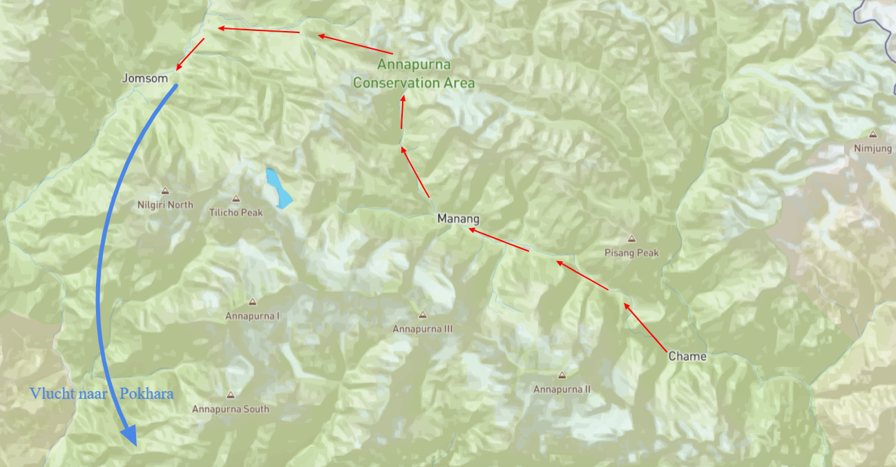 kaart trekking nepal