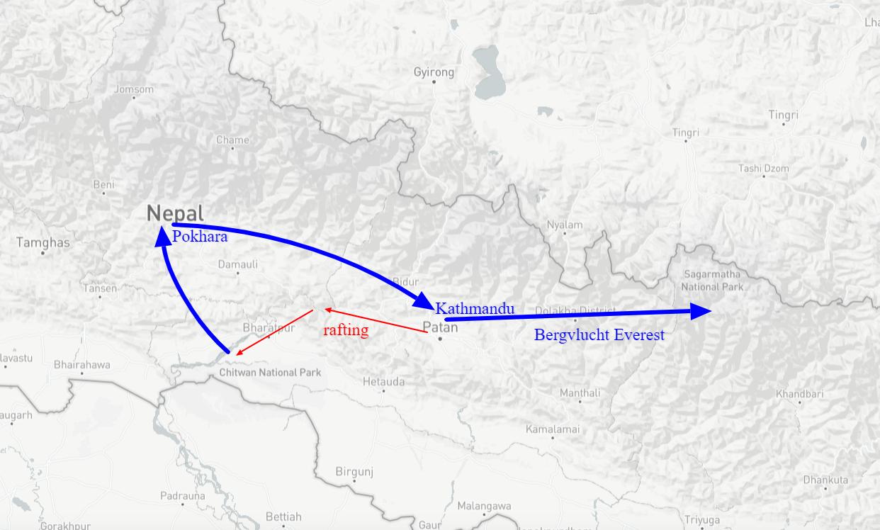 kaart nepal luxe reis