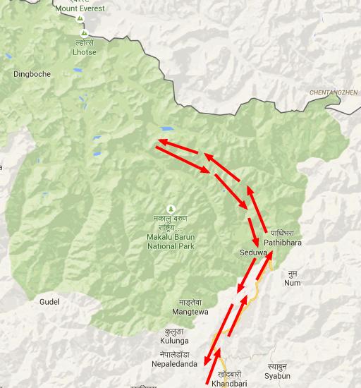 kaart makalu trekking