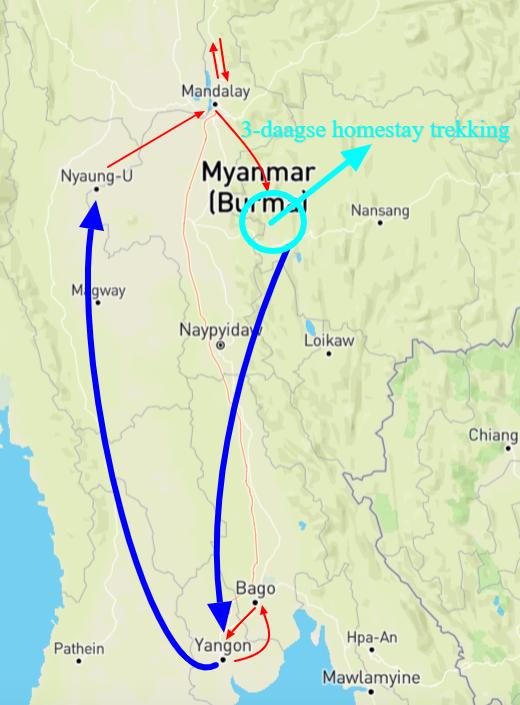 kaart myanmar individuele reis