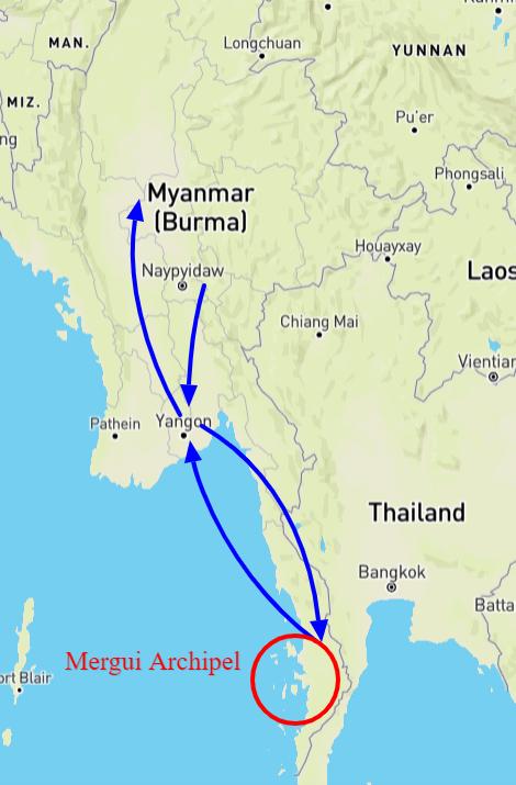 kaart individuele reis Myanmar