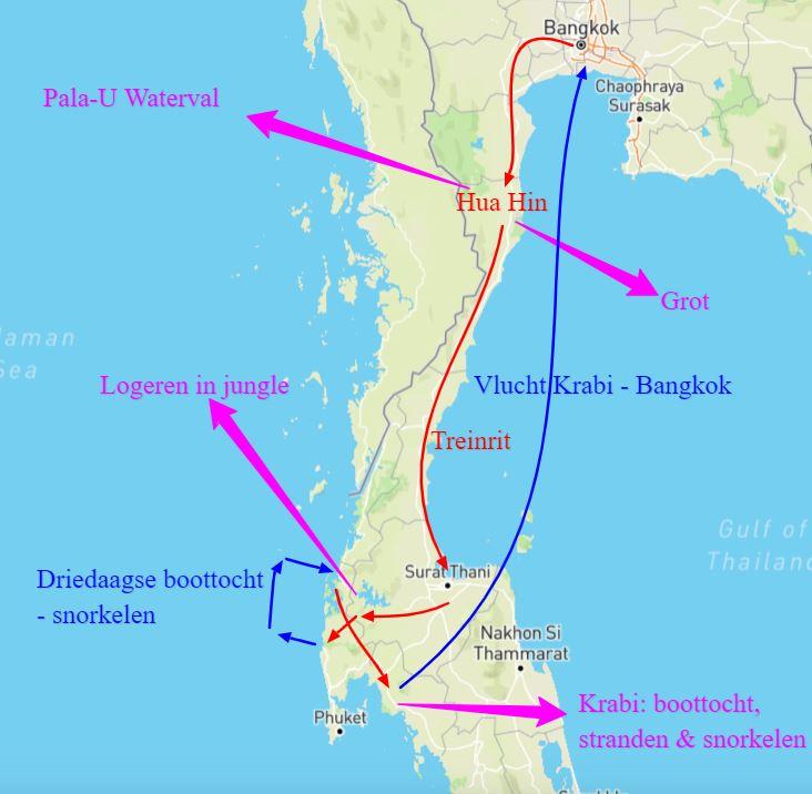 kaart rondreis Zuid-Thailand